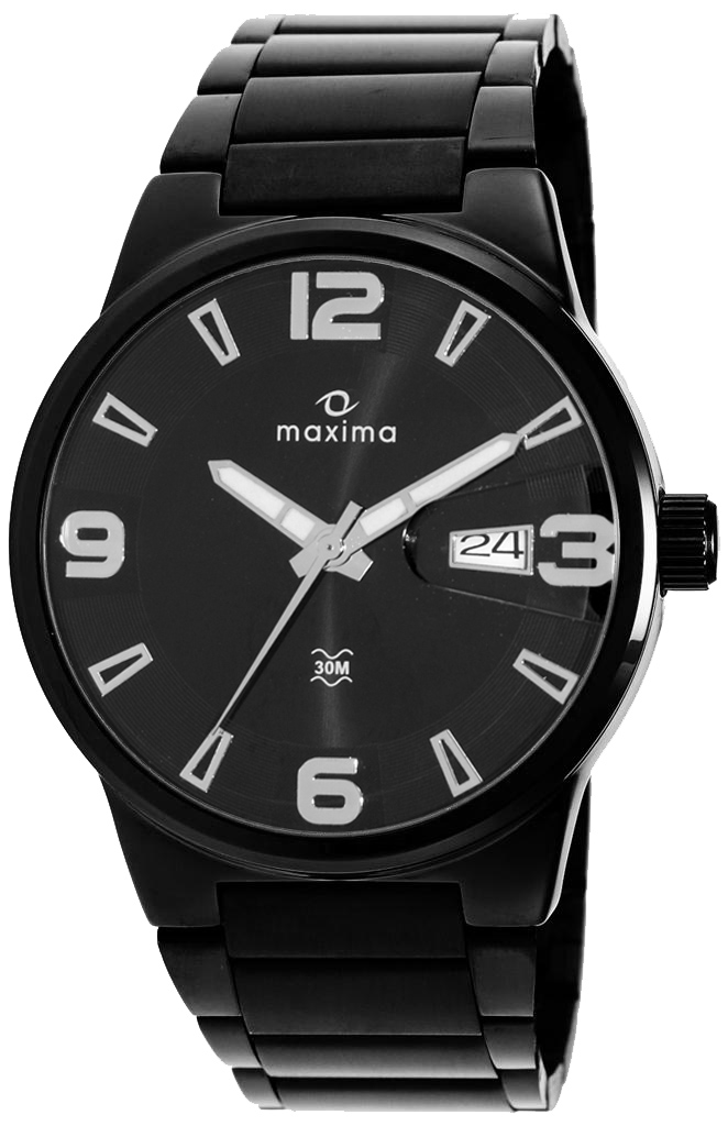elegant watches leather product black men wrist buy maxima for online of pack analog