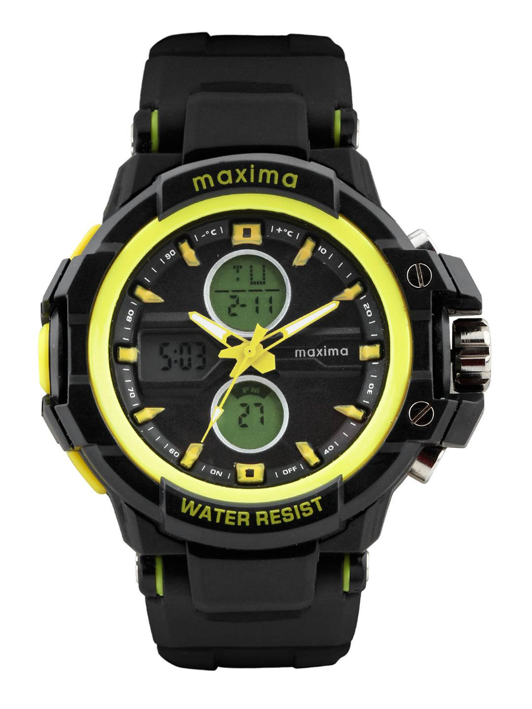 maxima black yellow analogue digital watches 28590ppan for