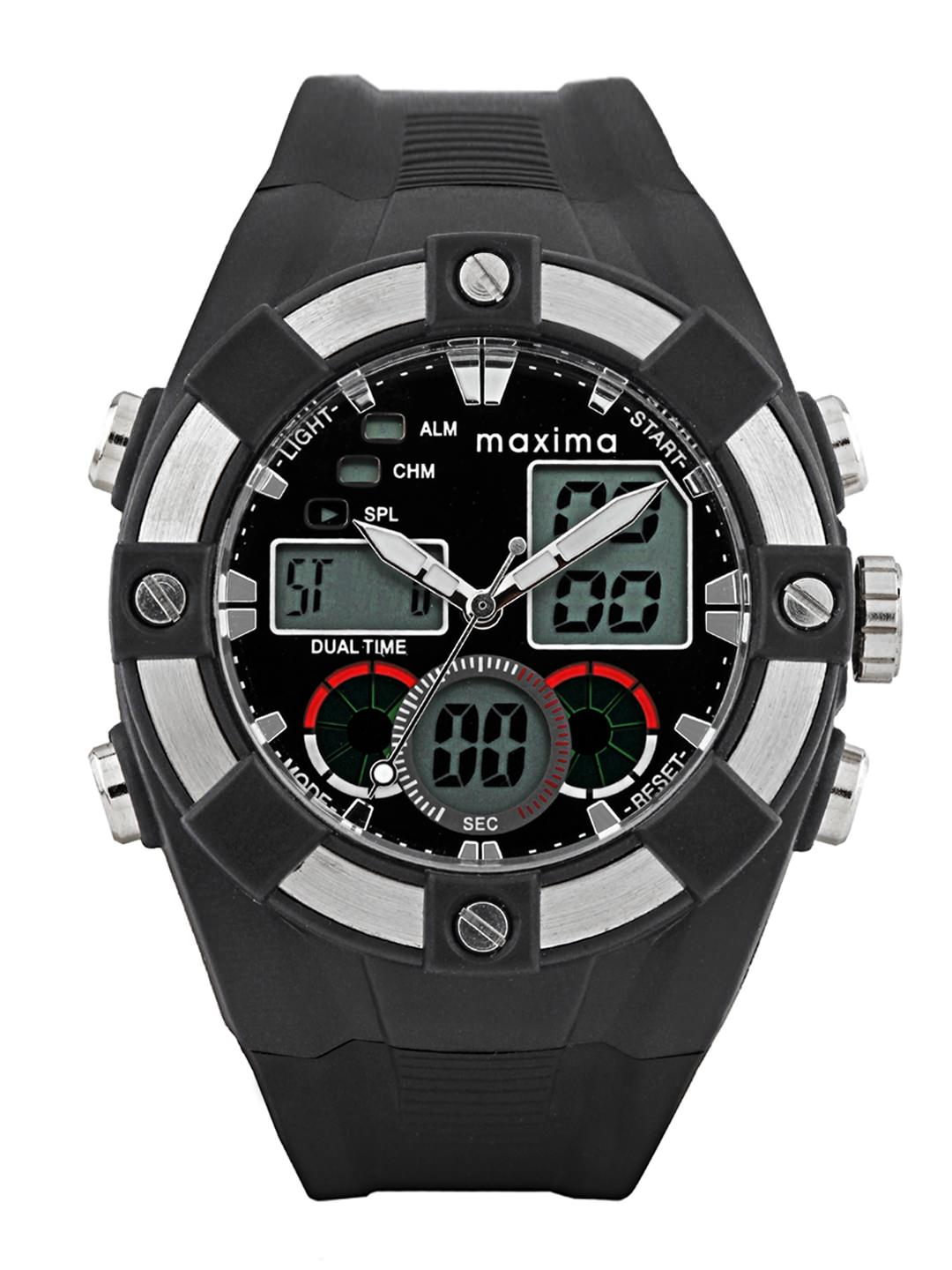 maxima black silver analogue digital watches 28630ppan for