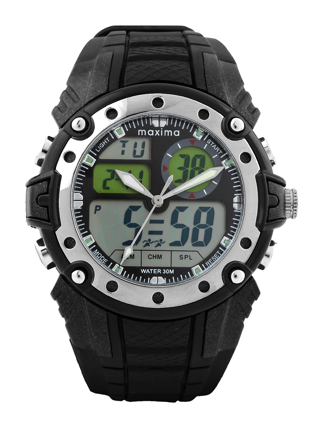 maxima black silver analogue digital watches 28660ppan for